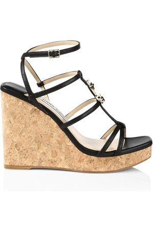 Jimmy Choo Women's JC Leather Platform Wedge Sandals - - Size 11