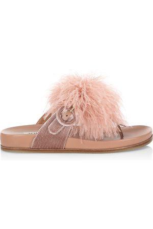 Aquazzura Women's Boudoir Ostrich Feather Slides - French Rose - Size 10 Sandals