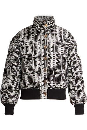 Balmain Women's Monogram-Print Button-Front Down Jacket - Ivory Noir - Size 14