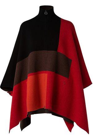 AKRIS Women's Colorblock Cashmere Reversible Cape - Cadmium