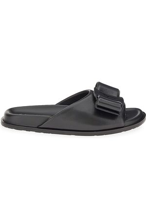Salvatore Ferragamo Women's Virgil Leather Slides - Nero - Size 11 Sandals