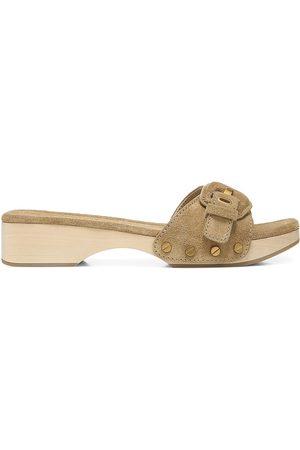 VERONICA BEARD Women's Davina Suede Slides - Sand - Size 6 Sandals