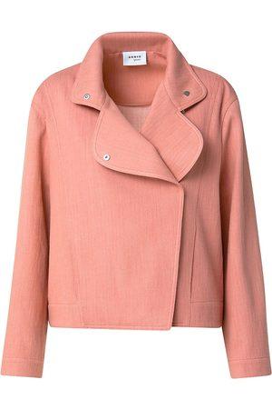 AKRIS Women Denim Jackets - Women's Stretch Denim Asymmetrical Jacket - Smocked Salmon - Size 16