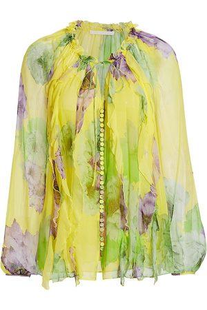 Jason Wu Women's Firefly Printed Silk Chiffon Blouse - Sun Multi - Size 12