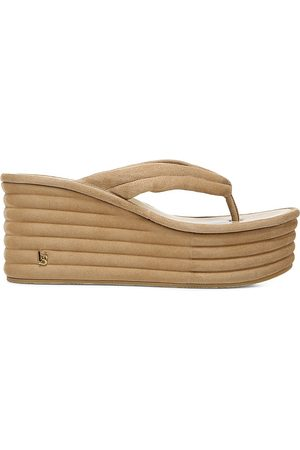 VERONICA BEARD Women's Geno Ribbed Suede Platform Wedge Thong Sandals - Sand - Size 7