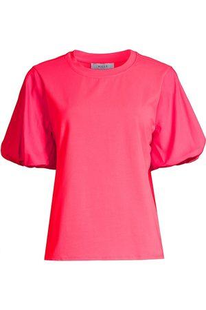 Milly Women's Monica Jersey Puff-Sleeve T-Shirt - Watermelon - Size Small
