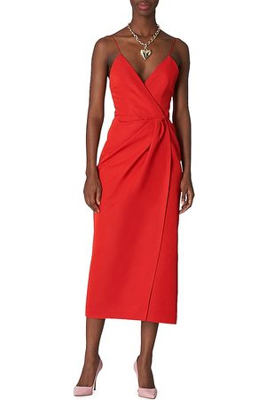 Carolina Herrera Women's Spaghetti-Strap Twist & Wrap-Detail Dress - Lacquer - Size 8