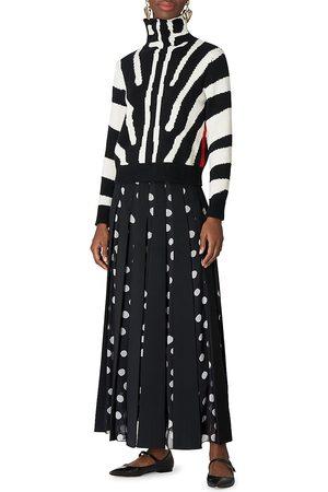 Carolina Herrera Women's Zebra Long-Sleeve Mockneck Pullover - - Size Small