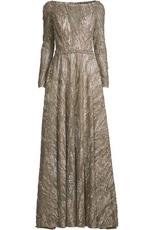 Mac Duggal Women's Beaded Long-Sleeve A-Line Gown - Mocha - Size 4