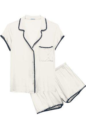 Eberjey Women's Frida 2-Piece Whip Stitch Pajama Set - Ivory Navy - Size Large