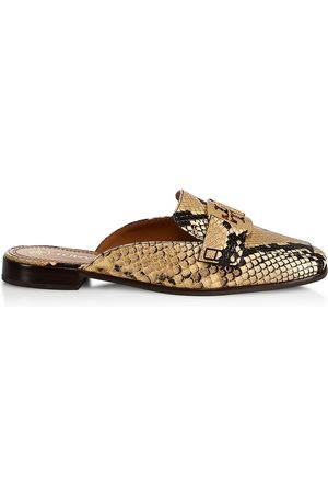 Tory Burch Women's Georgia Snake-Embossed Loafer Mules - Pale Desert - Size 8.5