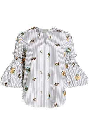 Silvia Tcherassi Women's Lucaya Floral Embroidered Blouse - Floral Grey Stripes - Size Large