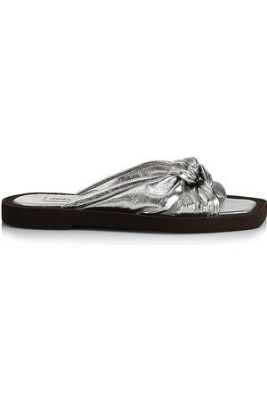 Jimmy Choo Women's Tropica Metallic Leather Slides - Sil - Size 10 Sandals