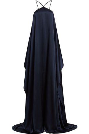 Halston Heritage Women's Tatianna Satin Halter Gown - Ink - Size 10