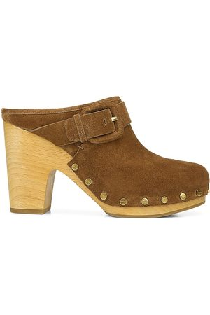 VERONICA BEARD Women's Dacey Suede Clogs - Pecan - Size 8