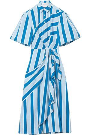 Carolina Herrera Women's Striped Wide-Sleeve Side-Twist Shirtdress - Multi - Size 12