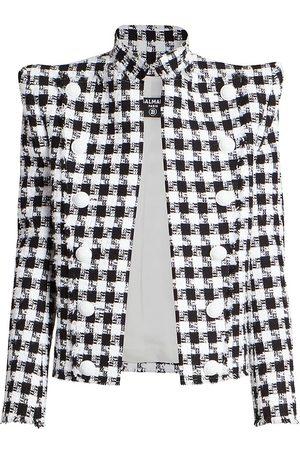 Balmain Women's Shoulder-Pad Buttoned Gingham Tweed Jacket - Gab Blanc Noir - Size 12