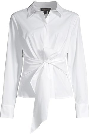 DKNY Women Blouses - Women's Tie Front Button-Down Blouse - - Size XS