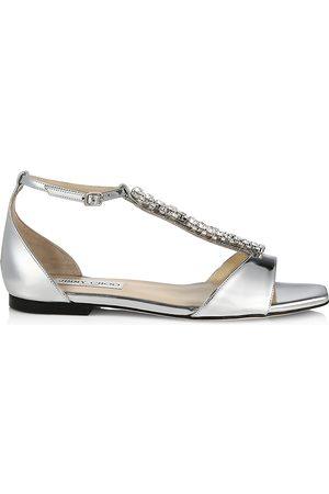 Jimmy Choo Women's Bella Embellished Metallic Leather Sandals - - Size 8