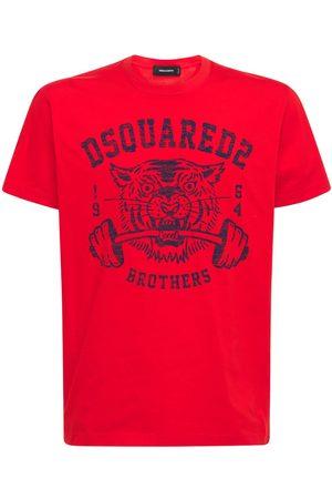 Dsquared2 Logo Tiger Print Cotton Jersey T-shirt