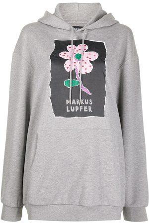 Markus Lupfer Erin flower logo-print hoodie - Grey