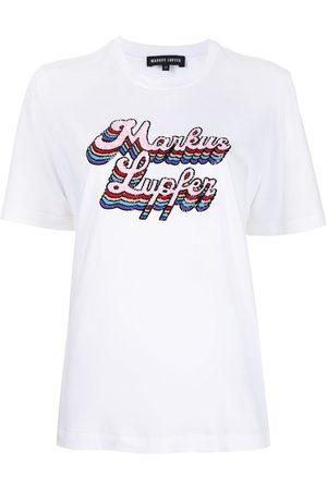 Markus Lupfer Women T-shirts - Alex sequin-embellished logo T-shirt
