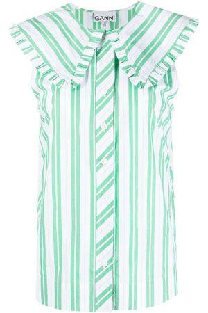 Ganni Women Tank Tops - Striped sleeveless shirt