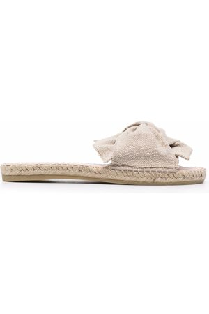 MANEBI Women Flat Shoes - Hamptons slip-on sandals - Neutrals