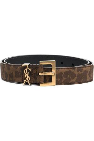 Saint Laurent Women Belts - Animal-print monogram belt