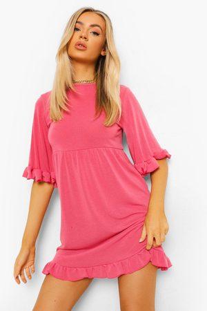 Boohoo Womens Flared Sleeve Frill Detail Smock Dress - - 4