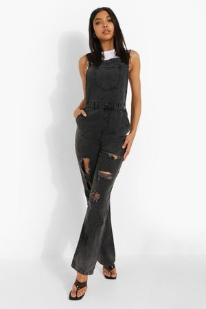 Boohoo Womens Tall Acid Wash Denim Dungraree - - 2