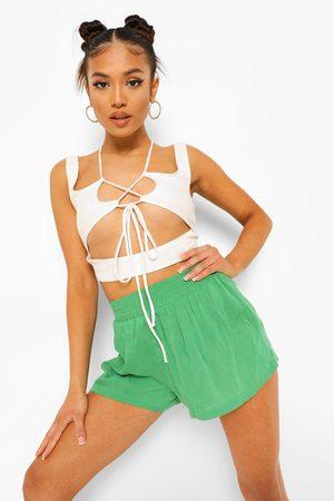 Boohoo Womens Petite Shirred Waist Cheesecloth Shorts - - 2