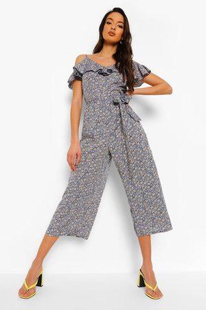 Boohoo Womens Floral Frill Cold Shoulder Belted Jumpsuit - - 4