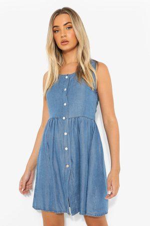 Boohoo Womens Button Down Floaty Denim Mini Dress - - 4