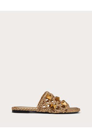 VALENTINO GARAVANI Women Sandals - Roman Stud Flat Slide Sandal In Woven Metallic Nappa Women 100% Pelle Di Vitello - Bos Taurus 36
