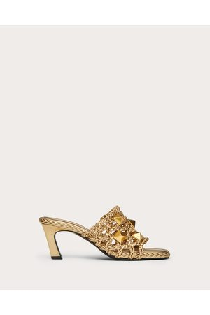 VALENTINO GARAVANI Women Heeled Sandals - Roman Stud Slide Sandal In Woven Metallic Nappa 65 Mm Women 100% Lambskin 35.5