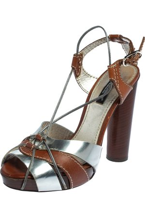 Dolce & Gabbana Women Platform Sandals - Silver/ Leather Platform Ankle Strap Sandals Size 36