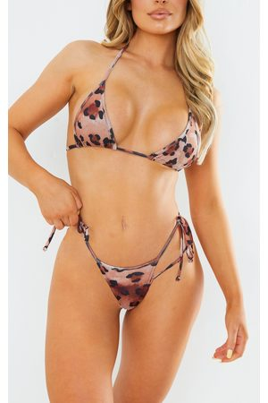 PRETTYLITTLETHING Ash Animal Double Tie Side Strappy Bikini Bottoms