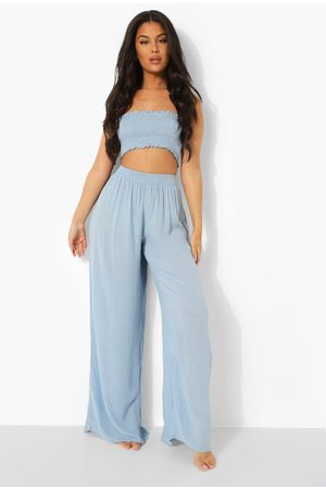 Boohoo Womens Shirred Waist Woven Wide Leg Beach Pants - - S