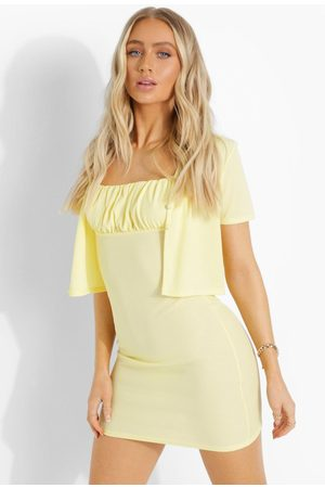 Boohoo Women Bodycon Dresses - Womens Ribbed Crop And Ruched Dress - - 2