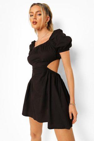 Boohoo Womens Tie Back Cut Out Cotton Mini Dress - - 4