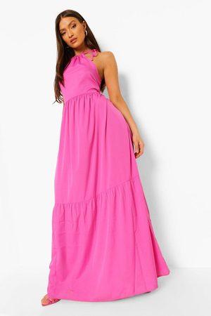 Boohoo Womens Halterneck Tiered Maxi Dress - - 4
