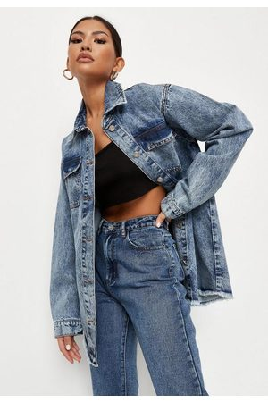 Missguided Women Denim Jackets - Acid Wash Denim Shacket Shirt