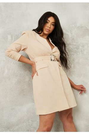 Missguided Plus Size Stone Linen Tortoiseshell Buckle Blazer Dress