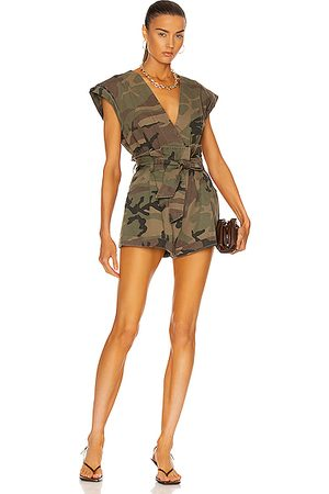 Marissa Webb Dixon Paper Bag Vintage Washed Romper in Army