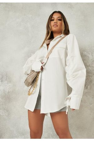Missguided Ruched Sleeve Shirt Dress