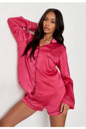 Missguided Women Pajamas - Satin Piping Shirt And Shorts Pajama Set