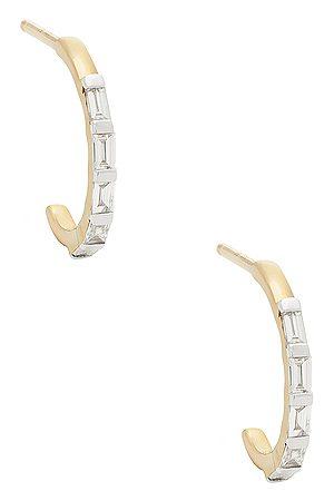 STONE AND STRAND Women Earrings - Baguette For Eternity Huggie Earrings in Metallic