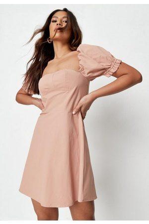 Missguided Women Dresses - Peach Puff Sleeve Milkmaid Skater Dress