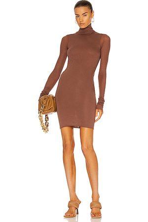 RICK OWENS LILIES Turtleneck Mini Dress in Brown